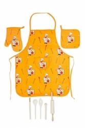 Dětská zástěra - sada 3 díly + dřevěné nádobí barva 001 žlutá